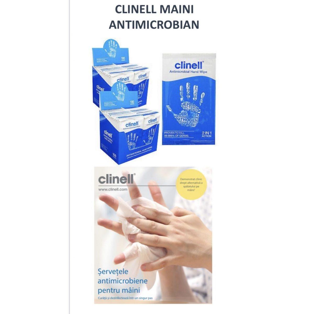 100 bucati - Dezinfectant Clinell - servetele antimicrobiene pentru maini cu spectru virucid